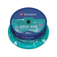 Média DVD-RW Verbatim spindle 25, 4.7GB, 4x