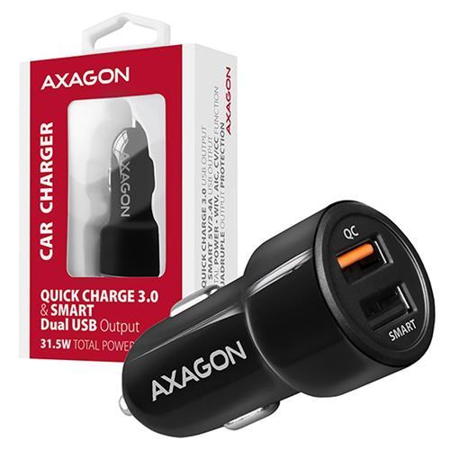 AXAGON PWC-QC5 car charger Smart 5V 2,4A + QC3.0, 30W, black
