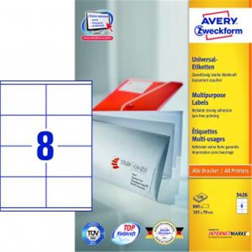 Etikety univerzálne 105x70mm Avery A4 100 hárkov AV003426