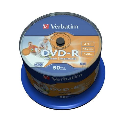 Média DVD-R Verbatim 4.7GB, 16x, Printable, Cake, 50ks 43533