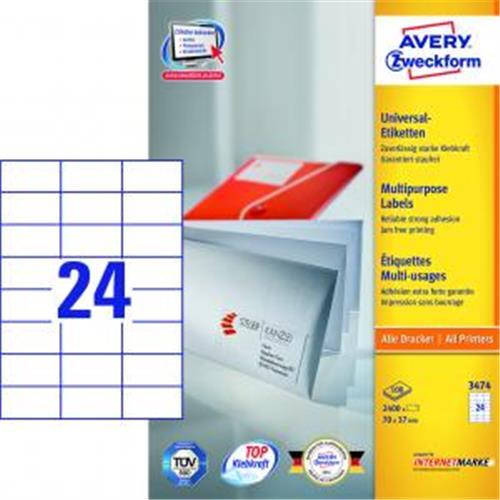 Etikety univerzálne 70x37mm Avery A4 100 hárkov AV003474