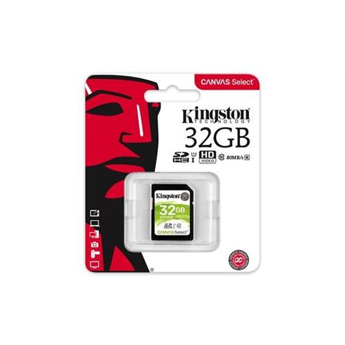 Kingston 32GB SDHC Canvas Select (Read 80MB/s, Write 10MB/s, Class 10 UHS-I) SDS/32GB