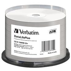 Média CD-R Verbatim spindle 50, 700MB, 52x, white wide printable