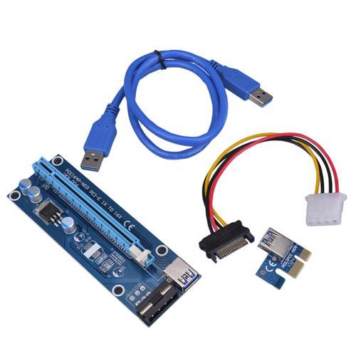 PCI Express 1x to16x Riser USB 3.0 60cm kábel Sata to 4Pin Molex pre Kryptomenových dolovačov PCIERISER