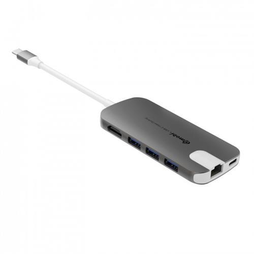 Gmobi Multi-port USB-C Hub HDMI a Ethernet - sivý GM-GN30H-Grey
