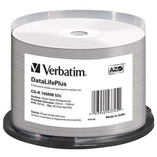 Média CD-R Verbatim spindle 50, 700MB, 52x, white wide printable 43745