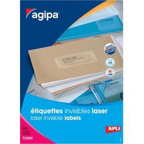 Etikety polyesterové priehľadné 70x37mm Agipa A4 laser 100 hárkov AG130143