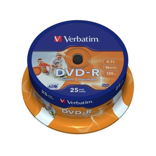 Média DVD-R Verbatim 4.7GB, 16x, Printable, Cake, 25ks 43538