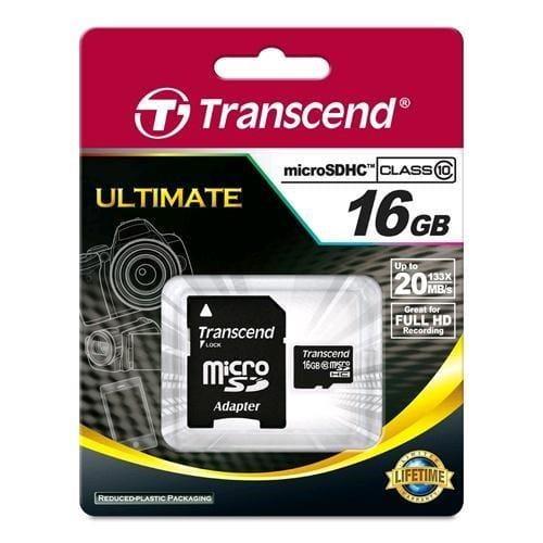 Transcend 16GB microSDHC Class10 U1 w/adapter TS16GUSDU1
