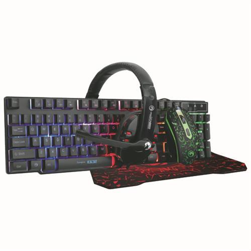Marvo CM370, Sada klávesnica s hernou myšou, podložkou a slúchadlami, CZ/SK, herná, membránová typ drôtová (USB), čierna, podsviet CM370 CZ/SK