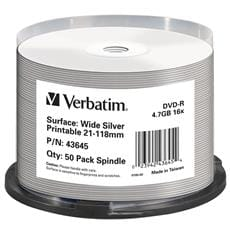 Média DVD-R Verbatim spindle 50, 4.7GB, 16x, WIDE SILVER INKJET PRINTABLE