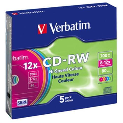 VERBATIM CD-RW(5-Pack)/Slim/Colours/12x/700MB 43167