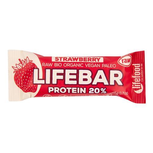 Tyčinka Lifebar proteín jahodová 47 g BIO LIFEFOOD 630203