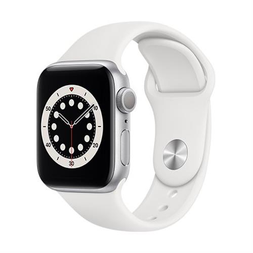 Apple Watch Series 6 GPS, 40mm Silver Aluminium Case with White Sport Band - Regular MG283VR/A