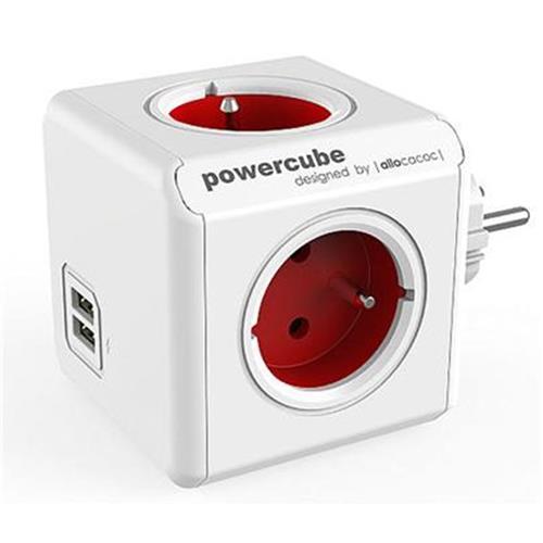 Zásuvka PowerCube ORIGINAL USB, Red, 4 rozbočka, 2x USB 423655