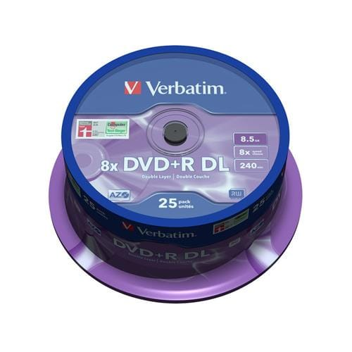 Média DVD+R DL Verbatim spindle 25, 8.5GB, 8x, MATT SILVER