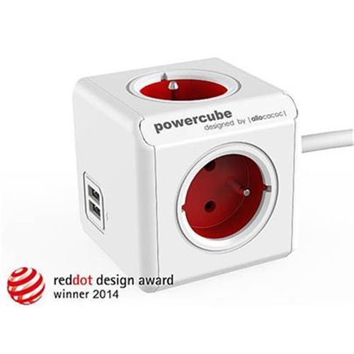 Zásuvka predlž. PowerCube EXTENDED USB, Red, 4 rozbočka, 2x USB, kabel 1,5m 423680