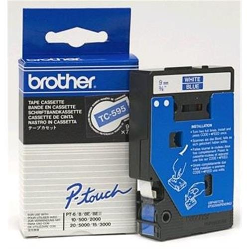 Páska BROTHER TC595 White On Blue Tape (9mm)
