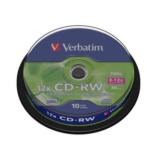 Média CD-RW Verbatim cake box 10, 700MB, 12x