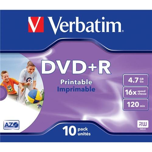 Média DVD+R Verbatim 4.7GB, 16x, Printable, Box, 10ks 43508