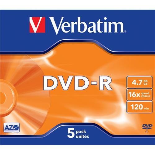 Média DVD-R Verbatim 4.7GB, 16x, Silver, Box, 5 ks 43519