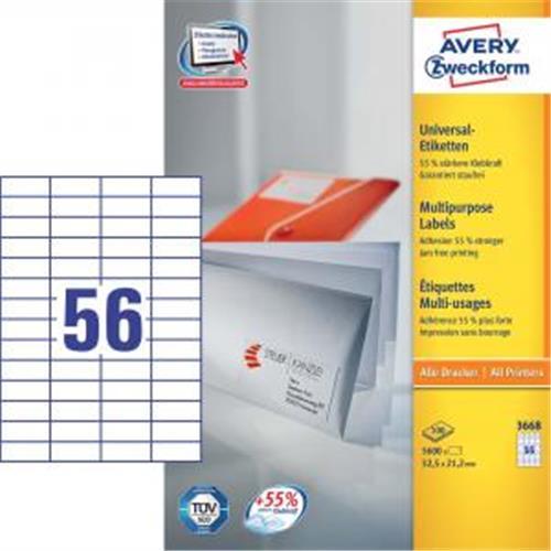 Etikety univerzálne 52,5x21,2mm Avery A4 100 hárkov AV003668