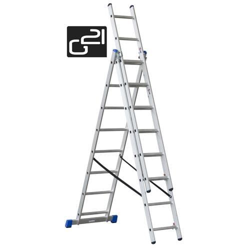 Rebrík G21 3-dielny 5,1m 3x8 priečok GA-H-3x8