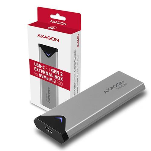 AXAGON EEM2-UG2, USB-C 3.2 Gen 2 - M.2 NVMe SSD kovový box, dĺžka 42 až 80 mm