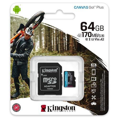 64GB microSDXC Kingston Canvas Go! Plus A2 U3 V30 170MB/s + adaptér SDCG3/64GB