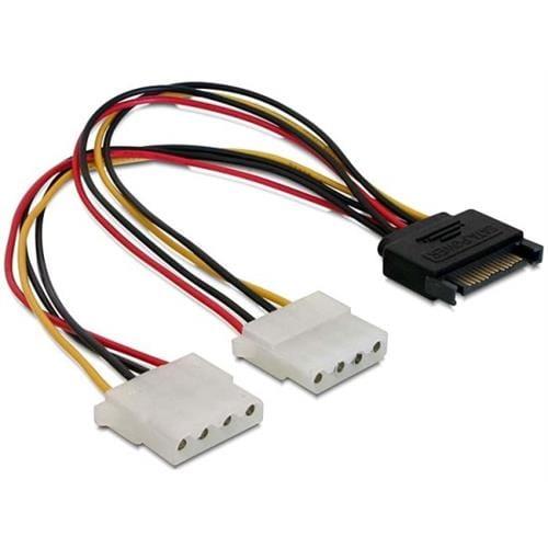 Power Adapter SATA 15-pin samec na 2x Molex 4-pin samice, 20cm 65159