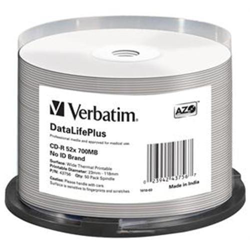 VERBATIM CD-R(50-Pack)/52x/700MB/ThermoPrint/NoID 43756
