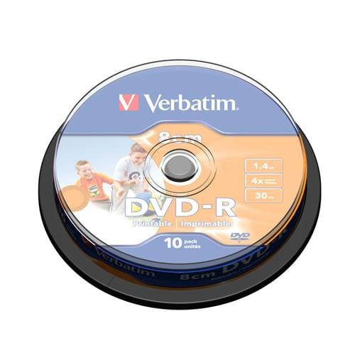 Média mini DVD-R Verbatim, cakebox 10, 1.4GB, 4x, printable