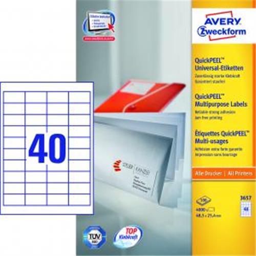 Etikety univerzálne 48,5x25,4mm Avery A4 100 hárkov AV003657