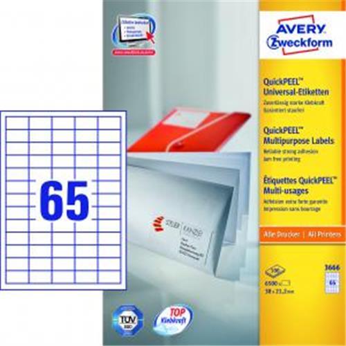 Etikety univerzálne 38x21,2mm Avery A4 100 hárkov AV003666