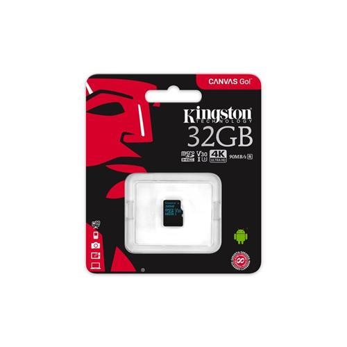 Kingston 32GB microSDXC Canvas GO (90R/45W U3 UHS-I V30 Card bez SD Adaptéra) SDCG2/32GBSP
