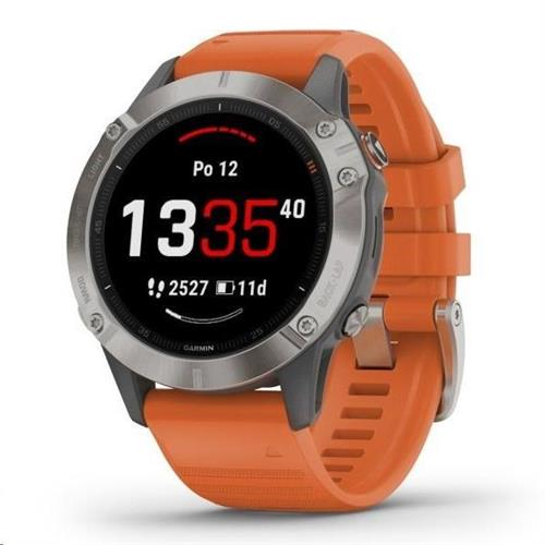 Garmin fénix 6 Sapphire Titanium  Orange Band (MAP Music) 47mm 010 02158 14