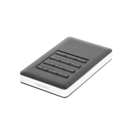 Externý box na HDD 2.5'' SATA USB 3.0 Natec Rhino Code, 256-bitové hardwarové šifrovanie AES NKZ-0808