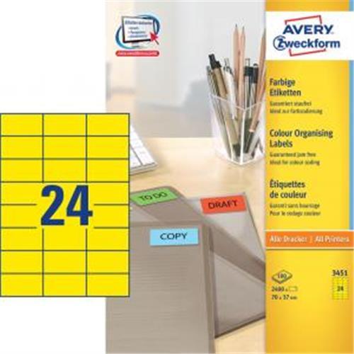 Etikety farebné 70x37mm Avery A4 100 hárkov žlté AV003451