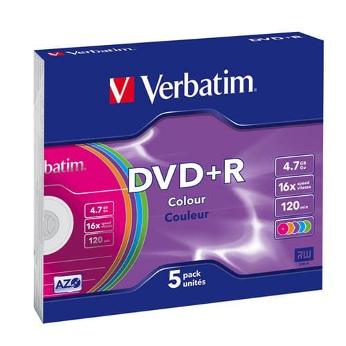Média DVD+R Verbatim slim jewel case 5, 4.7GB, 16x, Colour