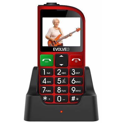 EVOLVEO EasyPhone FM, mobilný telefón pre seniorov, červený EP-800-FMR