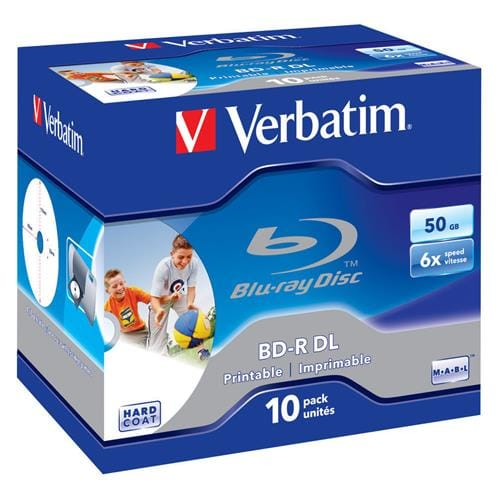 Média Blu-ray BD-R Dual Layer Verbatim jewel case 10, 50GB, 6x, pre tlač 43736