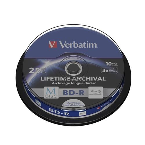 Verbatim M-DISC BD-R 4X 25GB Inkjet printable 10-pack, spindle 43825