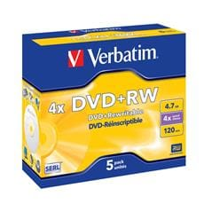 Média DVD+RW Verbatim jewel case 5, 4.7GB, 4x