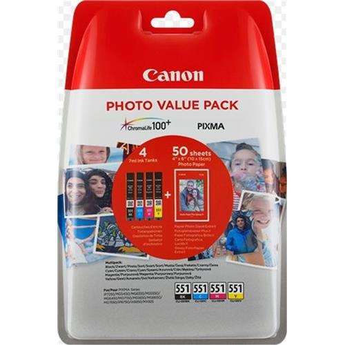 kazeta CANON CLI-551XL BK/C/M/Y PACK MG 5450/6350, iP 7250, MX 925 + PP201 10x15 6443B006