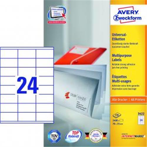 Etikety univerzálne 70x35mm Avery A4 100 hárkov AV003422