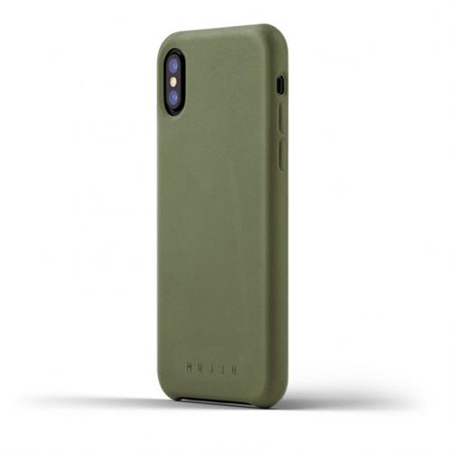 MUJJO Full Leather Case pre iPhone X - olivový MUJJO-CS-095-OL