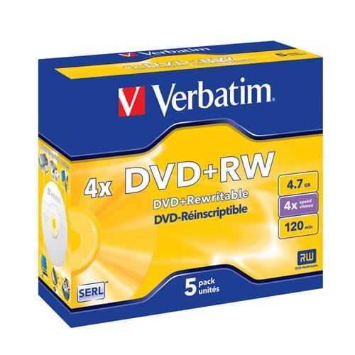 Média DVD+RW Verbatim jewel case 5, 4.7GB, 4x 43229