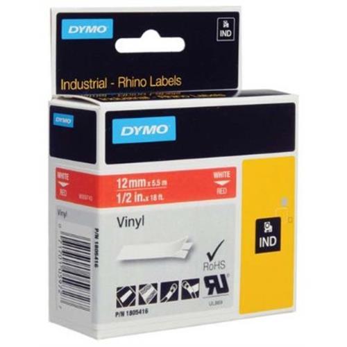 páska DYMO 1805416 PROFI D1 RHINO White On Red Vinyl Tape (12mm)