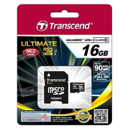 Transcend 16GB microSDHC Class10 U1,MLC,600x TS16GUSDHC10U1