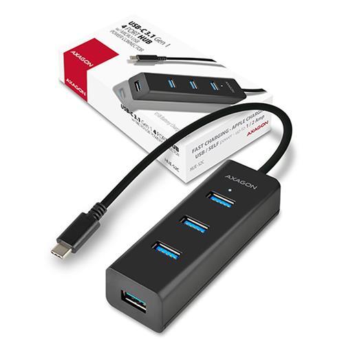 AXAGON HUE-S2C Type-C 4x USB3.0 CHARGING hub, microUSB nap. konektor